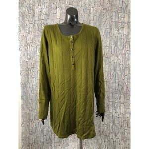Roamans Size 18/20 Large Olive Green Ribbed Top